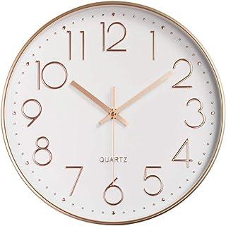 壁掛け時計 アナログ 静か 連続秒針 掛け時計 簡単 北欧 時計 壁掛け 電池式 モダン ウォールクロック 大数字 見やすい 壁かけ時計 寝室 部屋 キッチン カフェ 装飾 壁時計 ホワイト ローズゴールド
