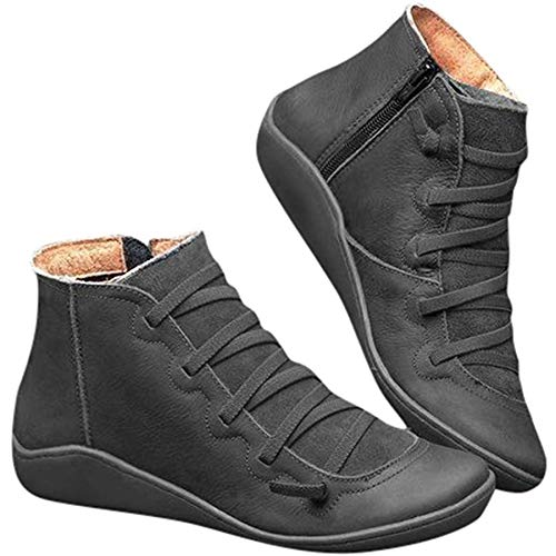 Ru Sweet Women's Arch Support Boots Comfy Lace Up Flat Heel Ankle Booties Grey
