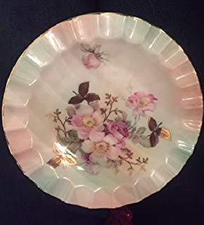 Schumann Arzberg Vintage Bavarian China Decorative Plate with 22k Gold Scalloped Edge, by Bavaria Schumann Arzberg Made in Germany Approx 6 1/4