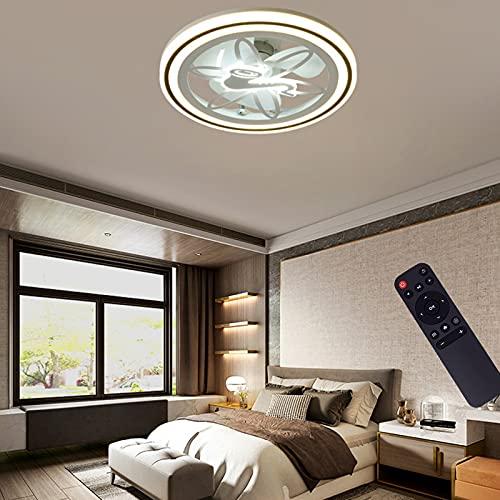VOMI Plafón con Mando A Distancia Ventilador de Techo Luz LED 3 Velocidades de Viento Ajustables Tranquila Luz del Ventilador Redondo para Dormitorio Oficina Restaurante Salón Iluminación Decorativa