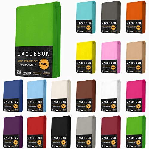 Jacobson Jersey Spannbettlaken Spannbetttuch Baumwolle Bettlaken (140x200-160x200 cm, Anthrazit)