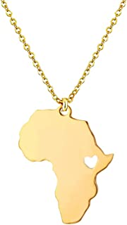 Cute Africa Map Heart Shape Pendant Necklace Circle Choker for Girl and Women