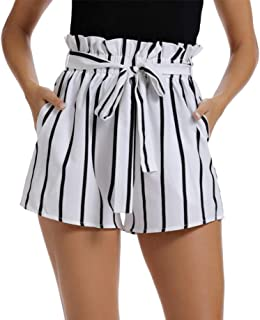 Womens Casual Elastic High Waisted Striped Summer Shorts with Pockets