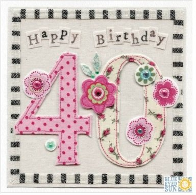 Unique Embroidered Vintage Floral 40th Birthday Card, hand finished with jewels.