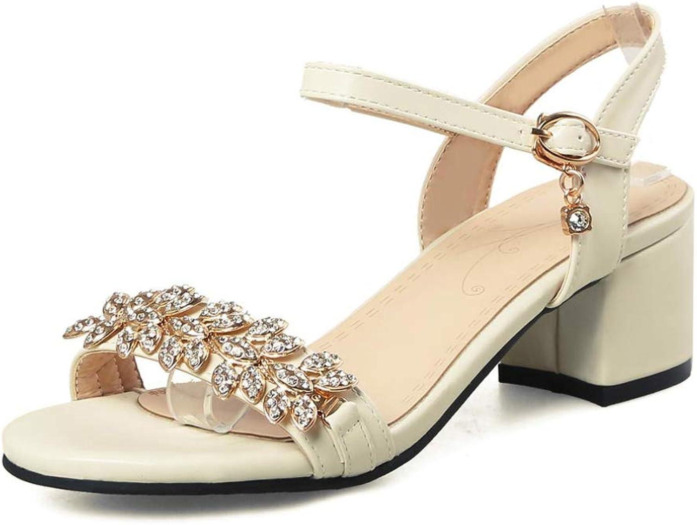JOYBI Women Open Toe Sandals Thick Block Heels Summer Rhinestone Non Slip Buckle Strap Fashion Dress shoes