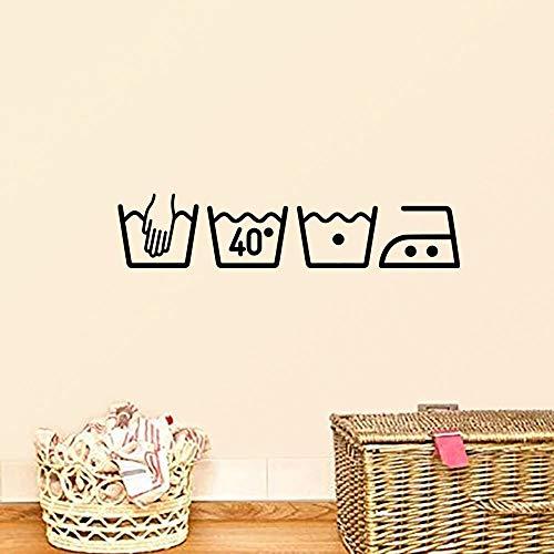Etiqueta engomada de la pared de la lavadora de moda en el cartel de la pared decoración de la habitación del hogar pegatinas de pared en la pared para salas de lavandería A6 55x12cm