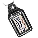 Brotherhood California License Plate Design NTGUILTY Lincoln Lawyer Keychain Key Holder Key Ring for Men Heavy Duty Car Keyring for Men and Women
