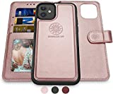 Shields Up iPhone 11 Case, [Detachable] Magnetic Wallet Case, [Wireless Charging Support], Durable and Slim with Card Slots, Wrist Strap, [Vegan Leather] Cover for Apple iPhone 11 6.1 inch -Rose Gold