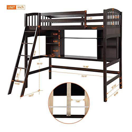 Twin High Loft Bed, Wood Bed Frame with Storage Shelves, Desk and Safety Ladder, Espresso