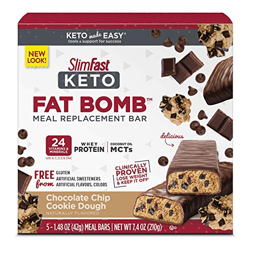 SlimFast Keto Meal Replacement Bar, Chocolate Chip Cookie Dough, 5 Count