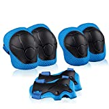 Xiaoai Kids Knee Pads Elbow Pads Wrist Guards Children Protective Gear Set for Roller Skates Cycling Bike Skateboard Riding Sports (Blue)