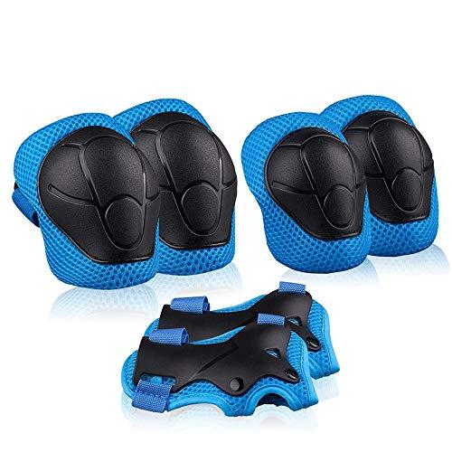 Zerobox Kinder Knieschoner Ellenbogenschoner Handgelenkschoner Kinder Schutzausrüstung Set für Rollschuhe Radfahren Skateboard Reiten Sport blau
