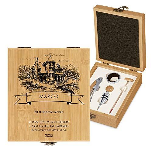 MURRANO Set Cavatappi da Vino - Kit da Sommelier Degustazione Perfetta Personalizzato - Scatola in legno di bambù + 4 pezzi di Accessori Vino - regalo uomo - Il kit