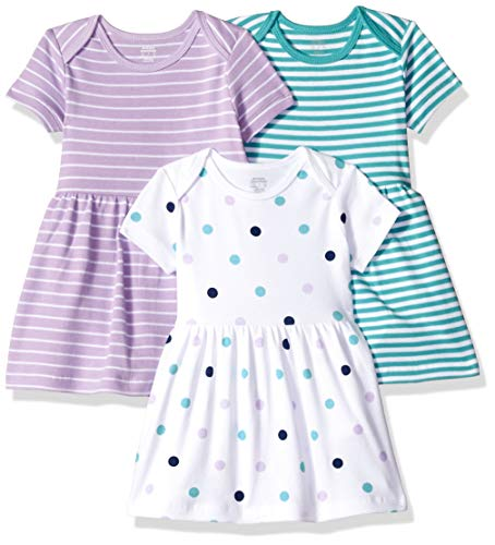 Amazon Essentials - Pack de 3 vestidos para niñas, Girl Dots, Bebé prematuro