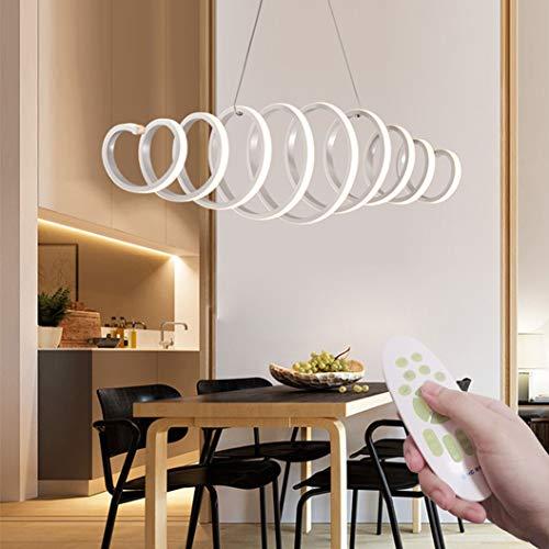 LED Pendelleuchte Dimmbar Modern Design Hängelampe 6200lm Weiß Pendelleuchte Kreativ Fernbedienung LED Deckenleuchte Esszimmer Restaurant Lichter Hängelampe Länge und Höhenverstellbar