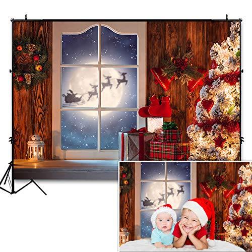 COMOPHOTO Christmas Photo Backdrop 7x5ft Wooden Wall Christmas Tree Moon Santa Claus Reindeer Photography Background Children Kid Portrait Backdrops Photo Studio Prop