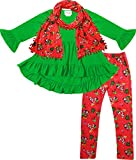 Boutique Clothing Baby Girls Disney Christmas Mickey Minnie Top Legging Scarf Set Red Green 18-24M/XS