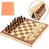 Chess Set Board Games Kids-Wooden Toys International Magnetic Travel Chess Set for Adults
