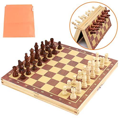TONZE Schachspiel Magnetisch Schach Holz Schachbrett-Holzspielzeug für Kinder ab 3 4 5 6 Jahren-Schach Einklappbar für Kinder Erwachsene