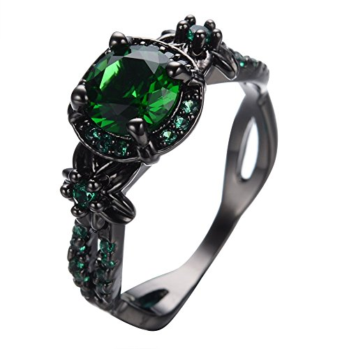 Bamos Jewelry Womens Green Stone Round Lab Stone Engagement Wedding Best Friend Christmas Black Gold Plated Wedding Rings for Her Size 8