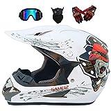 Casco de Descenso para Adultos Regalos Gafas máscara Guantes BMX MX ATV DH Carrera en Bicicleta de Cara Completa Casco Integral,B,L(58~59) CM