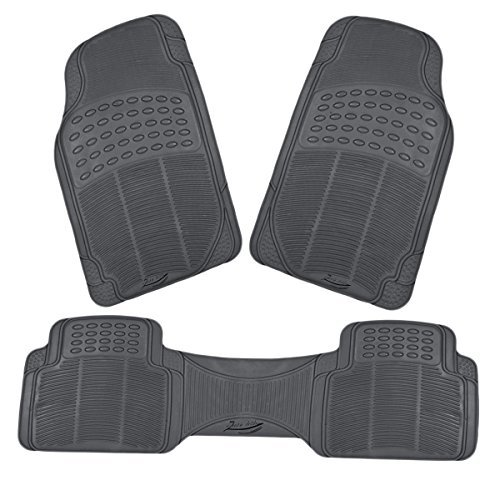 Zento Deals 3 Piece Gray Premium Quality Universal Fit Trimmable Full Rubber All Weather Heavy Duty Vehicle Floor Mats