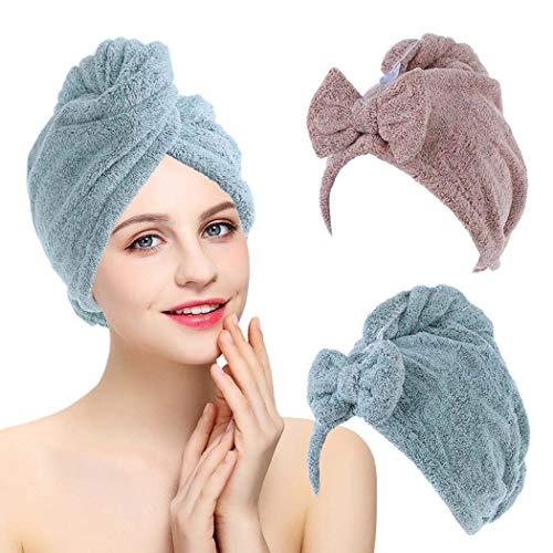 IYOU Toalla turbante de pelo azul toalla de pelo rápido abrigo de fibra suave súper absorbente toalla de secado rápido con botones baño salón pelo seco sombrero para mujeres y niñas (paquete de 2)