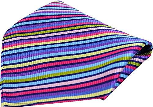 Posh and Dandy Mouchoir en soie de luxe à rayures fines et multicolores de