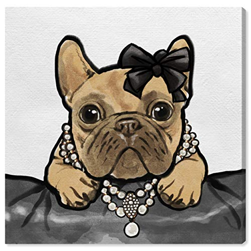 The Oliver Gal Artist Co. Fashion Wall Art Canvas Prints 'Glam Frenchie' Home Décor, 30' x 30', Brown, Black
