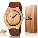 CUCOL Mens Wooden Watches Brown Cowhide Leather Strap Casual Watch for Groomsmen Gift with Box [並行輸入品]