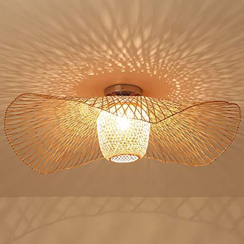 E27 Deckenleuchte Bambus Retro Deckenlampe Kreative Handgewebte Bambus Lampenschirm Hängelampe Beleuchtung Restaurant Schlafzimmer Deckenleuchte Wohnzimmer Küche Café Bar Dekorative Pendelleuchte,65cm