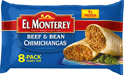El Monterey Beef and Bean Chimichangas – Family Pack of 8 Frozen Chimichangas, Made with Real Beef, No Artificial Colors, Perfect for Quick Family Meals (8 Count)