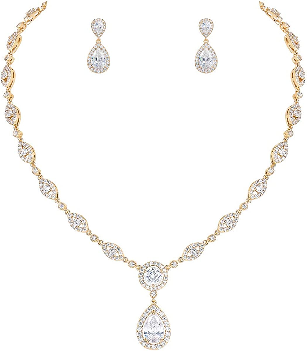 MEEDOZ Women's CZ Marquise Pear-Shaped Teardrop Cubic Zirconia Pendant Necklace Earring Sets for Bridal Wedding Jewelry