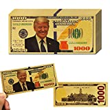LONG7INES 1000 Dollar Donald Trump Bill Banknote, One Thousand 24k Gold Coated Donald Trump Legacy Limited Edition Million Dollar Bill Great Gift for Currency Collectors and Republican (10 Pieces)
