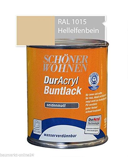 DurAcryl Buntlack Hellelfenbein 125 ml RAL 1015 Seidenmatt Schöner Wohnen