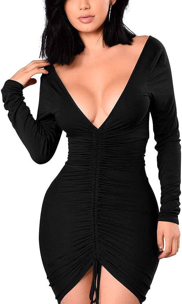 XXTAXN Women's Sexy Formal Bodycon V Neck Long Sleeve Cocktail Party Midi Dress