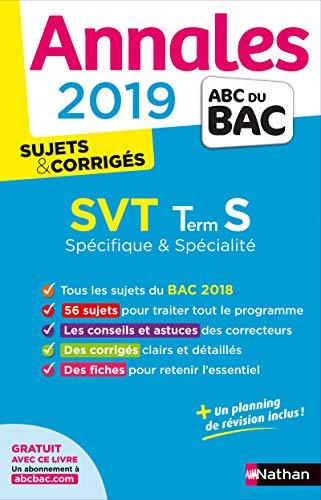 Annales Bac 2019 SVT Terminale S Spé&Spé - Corrigé: Sujets & corrigés