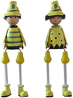 Healifty 2Pcs Pastoral Figurine Ornament Sunflower Family Decoration Long Leg Sitting Dolls Gardener Figurine Miniature Toys
