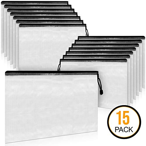 A4 Document Holder with Zipper (15 Pack) – Large Stylish Multipurpose Organizer Folder for School Supplies, Business Papers, Files and More - Clear Mesh Weatherproof Protection Storage Sheet