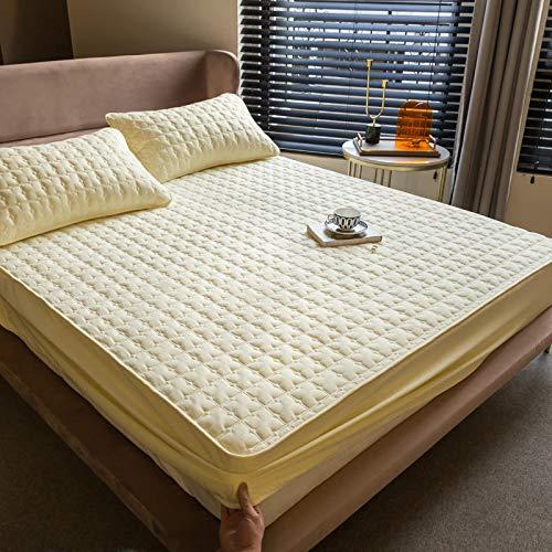 Xiaomizi Cubrecama acolchada de algodón cepillado agradable a la piel, funda de colchón transpirable a prueba de orina