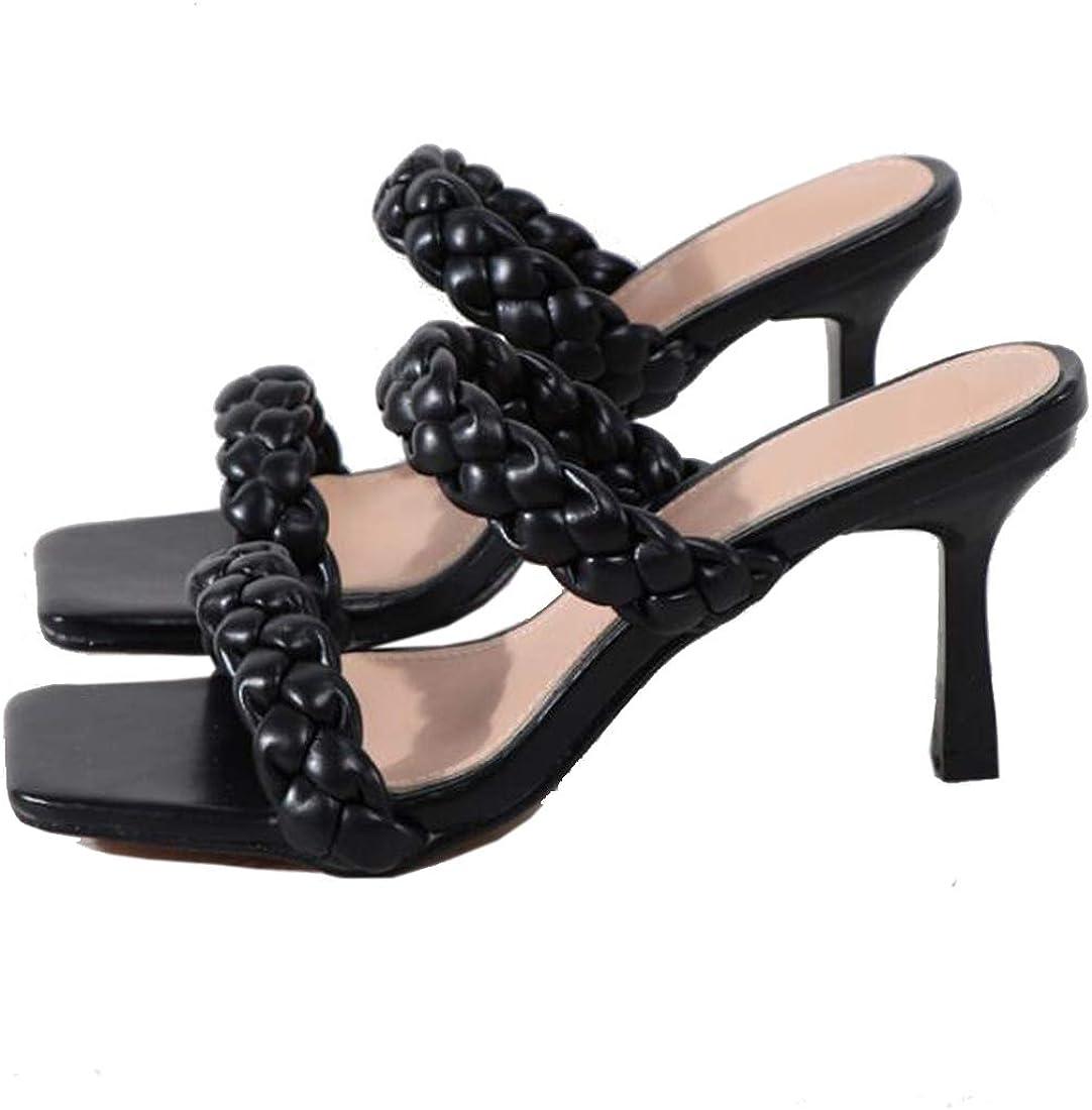 GATUXUS Fashion Women's Stiletto High Heels Slides Sandals Square Toe Weave Double Strap Mules Sandals