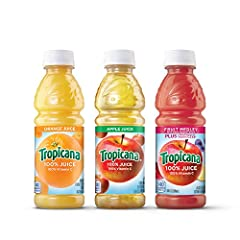 Contains twenty four (24) 10 ounces bottles of assorted Tropicana fruit blend drinks This variety pack includes three 100 percent juice flavors (8 bottles each); Orange, Apple and Fruit Medley Tropicana Juice is the perfect beverage to pack in lunche...