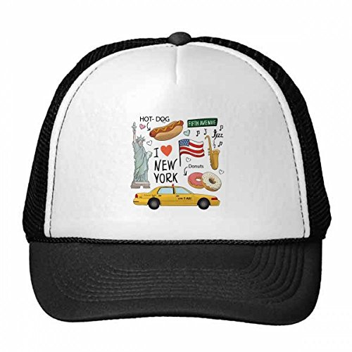 petit un compact DIYthinker I love New York, hot dog donuts USA Texi tracker hat bonnet coton…