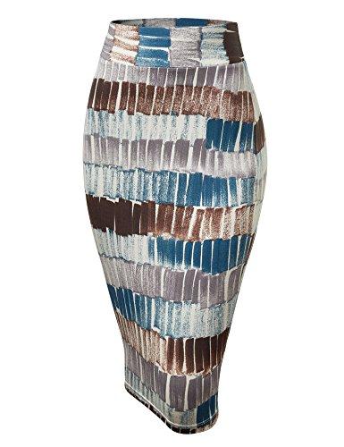 WB1304 Womens Print Midi Pencil Skirt M Teal_Brown