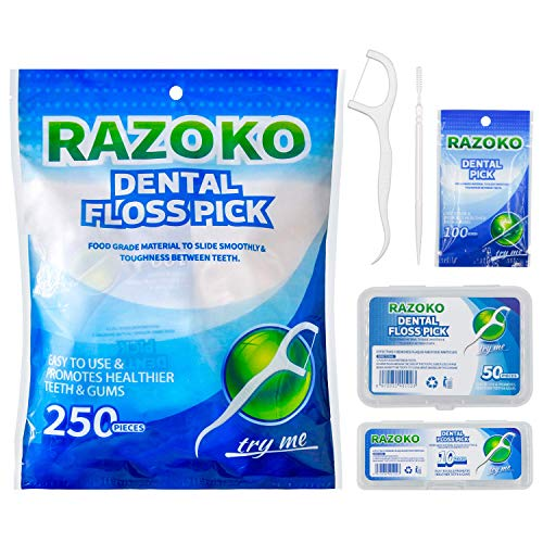 RAZOKO Dental Floss Picks Toughness 250pcs with Portable Cases and 100pcs BrushPicks Interdental Toothpicks Perfect for FamilyHotelTravel