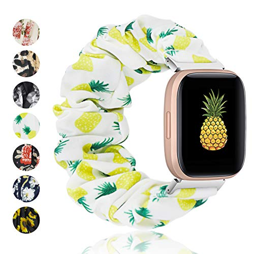 VEAQEE Scrunchie Versa Versa 2 Bands for Women Girls Cloth Elastic Soft Fabric Strap Pattern Printed Replacement Bracelet Wristband Scrunchy Accessories