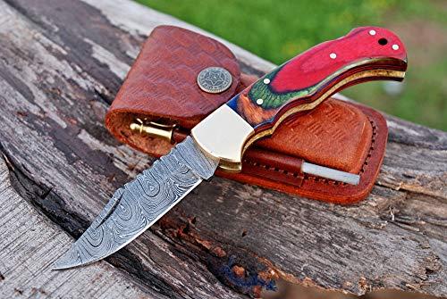 Handmade Damascus Steel Pocket Knife & Knife Sharpener - Damascus Folding Knife - Pocket Knife for Men, EDC Knife & Hunting Knife with Back Lock & Beautiful Pakka Wood Handle with Leather Knife Sheath