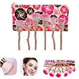 hgfds Makeup Brush Rose Gold, Blossoming Rose Makeup Brush Set, Powder Brush and Blush Brush For Daily Makeup, Unique Rose Brushes Foundation Blending Contour Cream Cosmetic Kit