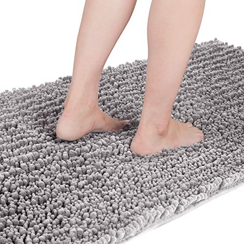 Yimobra Original Luxury Chenille Bath Mat, 55.1 x 24 Inches, Soft Shaggy and Comfortable, Large Size, Super Absorbent and Thick, Non-Slip, Machine Washable, Perfect for Bathroom, Gray