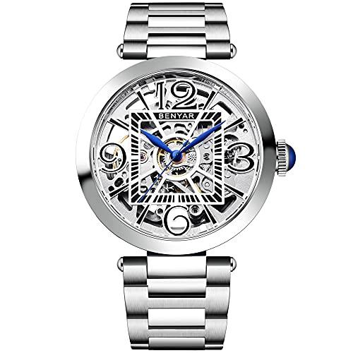 BENYAR - Relojes mecánicos automáticos para hombre, a la moda, impermeables, esqueleto, correa de acero inoxidable, Blanco,